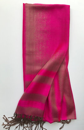 Cerise and Coffee Striped Scarf (No 5)