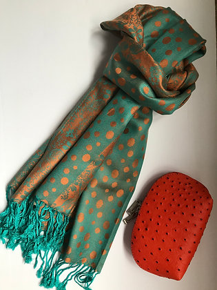 Green/Orange scarf and Cosmetic Bag Gift Set