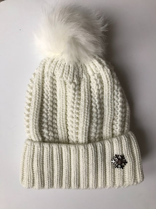 White Fleece lined hat with faux fur bobble