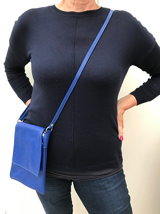 Cobalt Blue Italian Leather XBody Bag (Med)