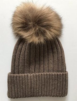 Brown Bobble Hat