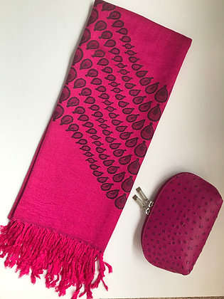 Cerise Pink Scarf and Cosmetic Bag Gift Set
