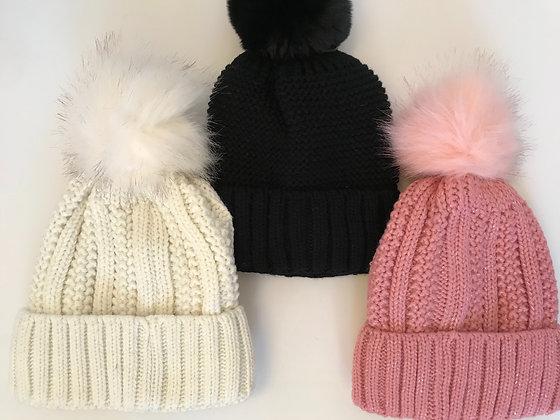 Fleece lined hat with faux fur bobble
