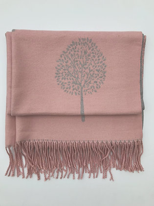 Pink 'Tree of Life' Pashmina