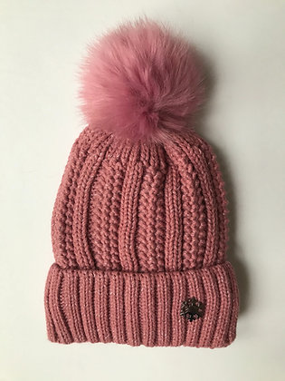 Pink Fleck Fleece lined hat with faux fur bobble