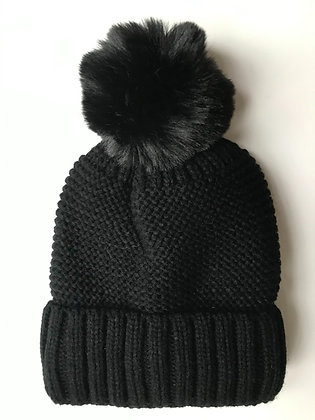 Black Knitted Fleece lined hat with faux fur bobble