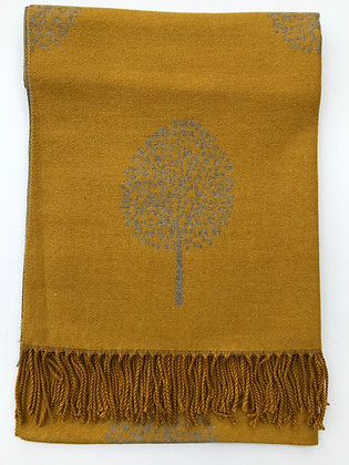 Mustard with Oatmeal 'Tree of Life' Pashmina