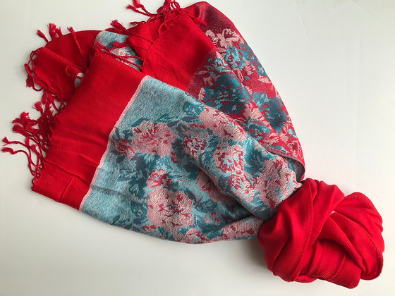 Red Patterned Scarf