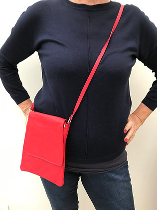 Red Italian Leather XBody Bag (Med)