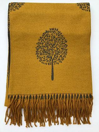 Mustard with Dark Grey 'Tree of Life' Pashmina