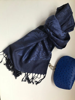 Navy patterned scarf and Cosmetic Bag Gift Set