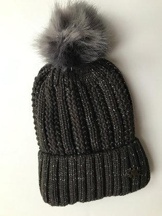 Charcoal Fleck Fleece lined hat with faux fur bobble