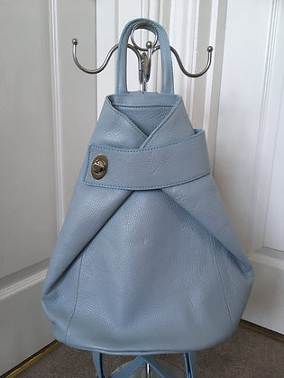 Amelia - Baby Blue Leather Rucksack