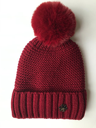 Red 'knitted' Fleece lined hat with faux fur bobble