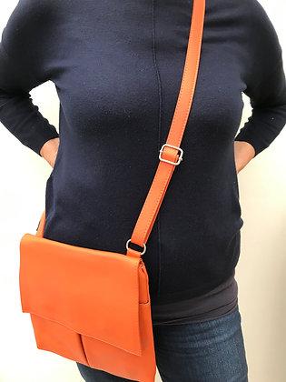 Orange Leather Cross Body Bag (large)