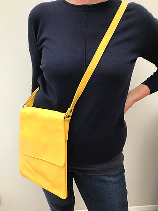 Yellow Leather Cross Body Bag (large)