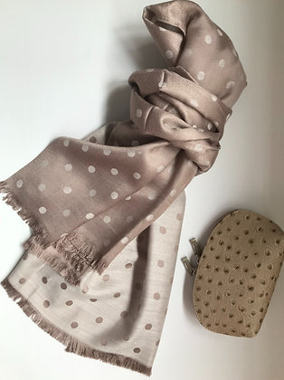 Taupe Spot scarf and Cosmetic Bag Gift Set