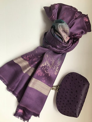 Purple scarf and Cosmetic Bag Gift Set