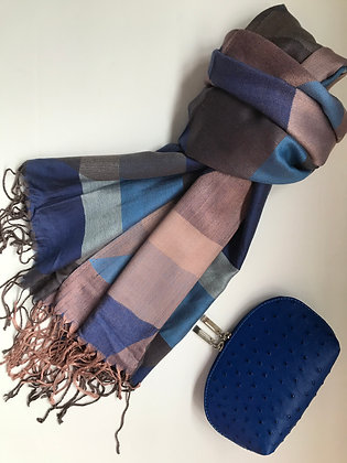 Blue/Grey scarf and Cosmetic Bag Gift Set