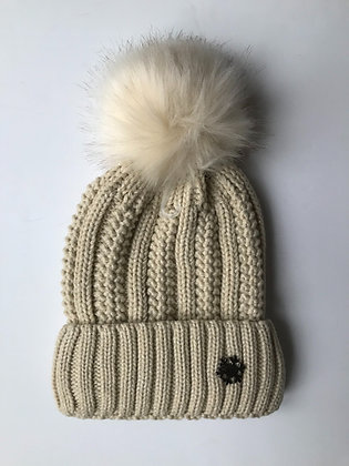 Cream Fleece lined hat with faux fur bobble