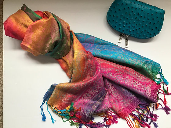 Multi coloured scarf and Cosmetic Bag Gift Set