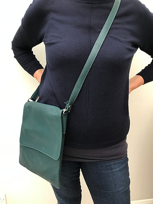 Teal Leather Cross Body Bag (large)