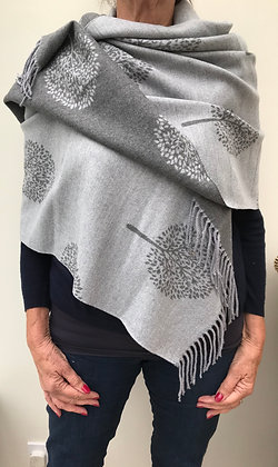 Grey 'Tree of Life' Pashmina