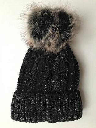 Black Fleck Fleece lined hat with faux fur bobble