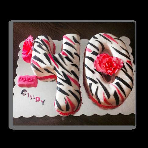 Zebra Striped 40th Birthday Cake