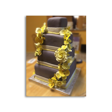 Gray Wedding Cake with Yellow Flowers