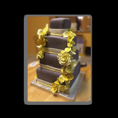 Gray Wedding Cake with Yellow Flowers