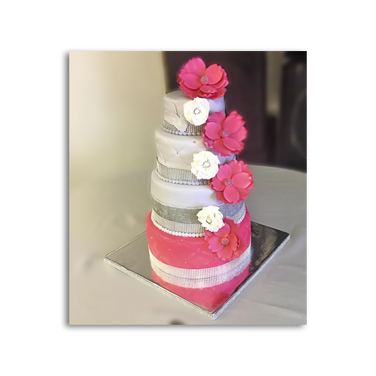 Wedding Cake with Pink and White Flowers