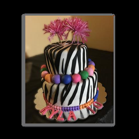 Zebra Striped Birthday Cake