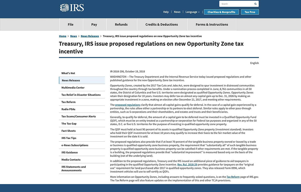Opportunity Zone Regulations Published to the IRS website.