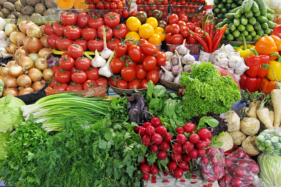 fresh vegetables tomatoes, onions,greens