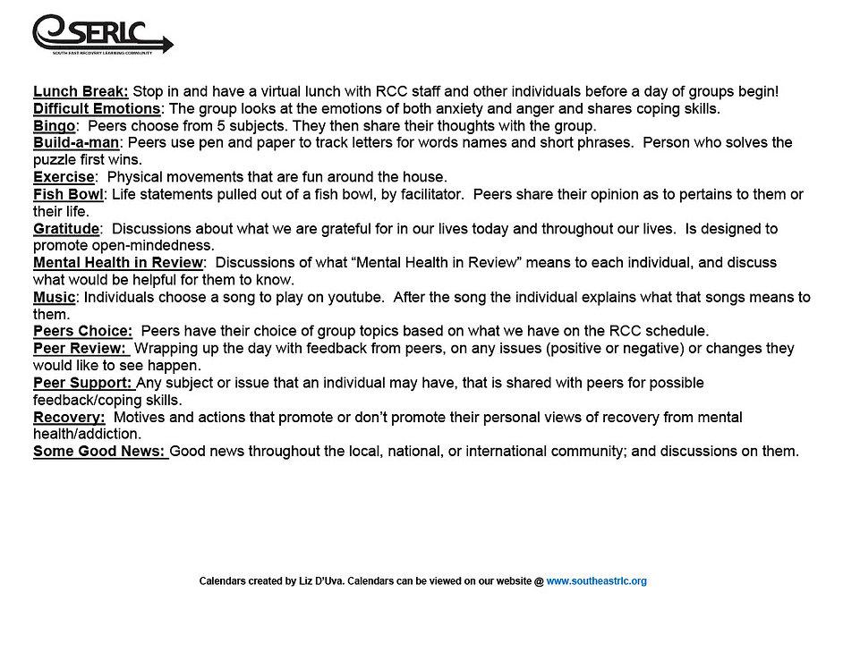 Hyannis RCC Online Group Schedule 202010