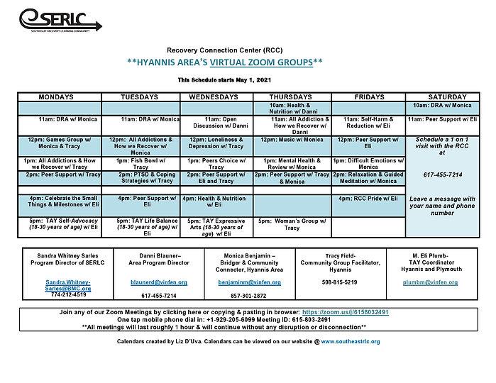 Hyannis  RCC Spring Zoom Group Schedule
