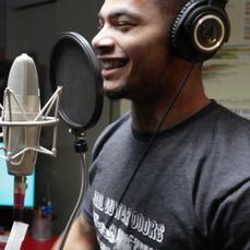 Student Chris Hargraves recording