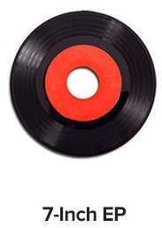"""EP vinyl record - black on the outer edge, red on the inner circle. Words """"7-Inch EP"""" below record"""