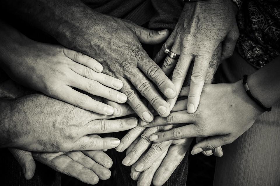 8 hands together