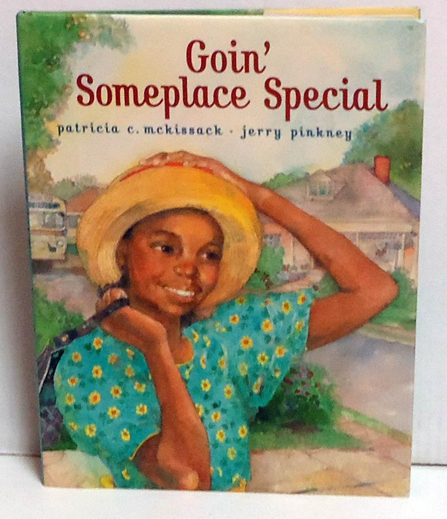 Goin' Someplace Special book cover - An African-American girl in a sundress and hat outside