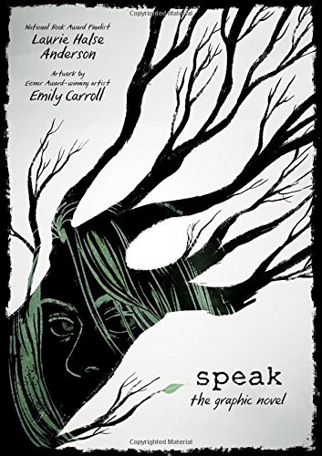Cover photo of Speak - a tree with the image of half a girl's face on it.