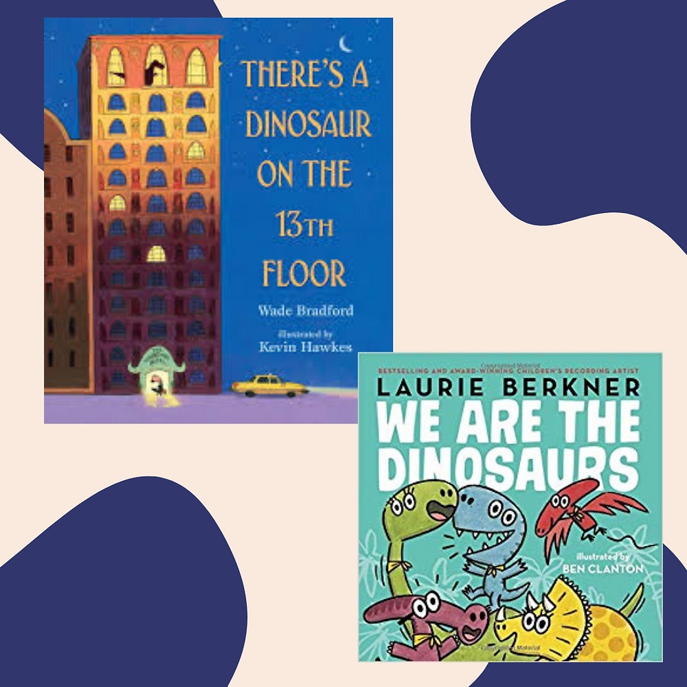 Covers of There's a Dinosaur on the 13th Floor and We are the Dinosaurs