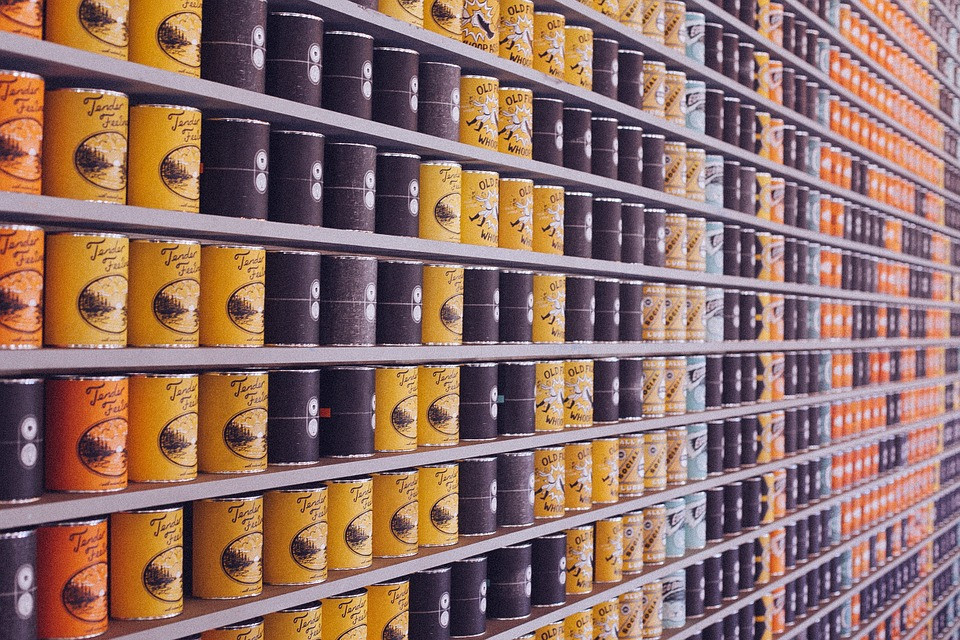 shelves lined with canned food