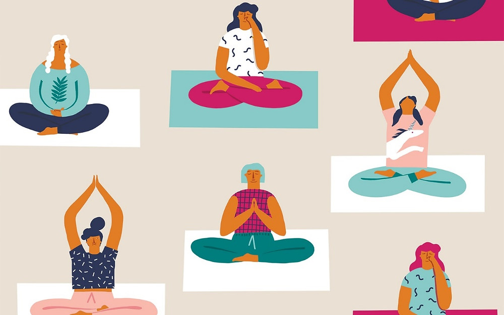 animated figures in yoga poses
