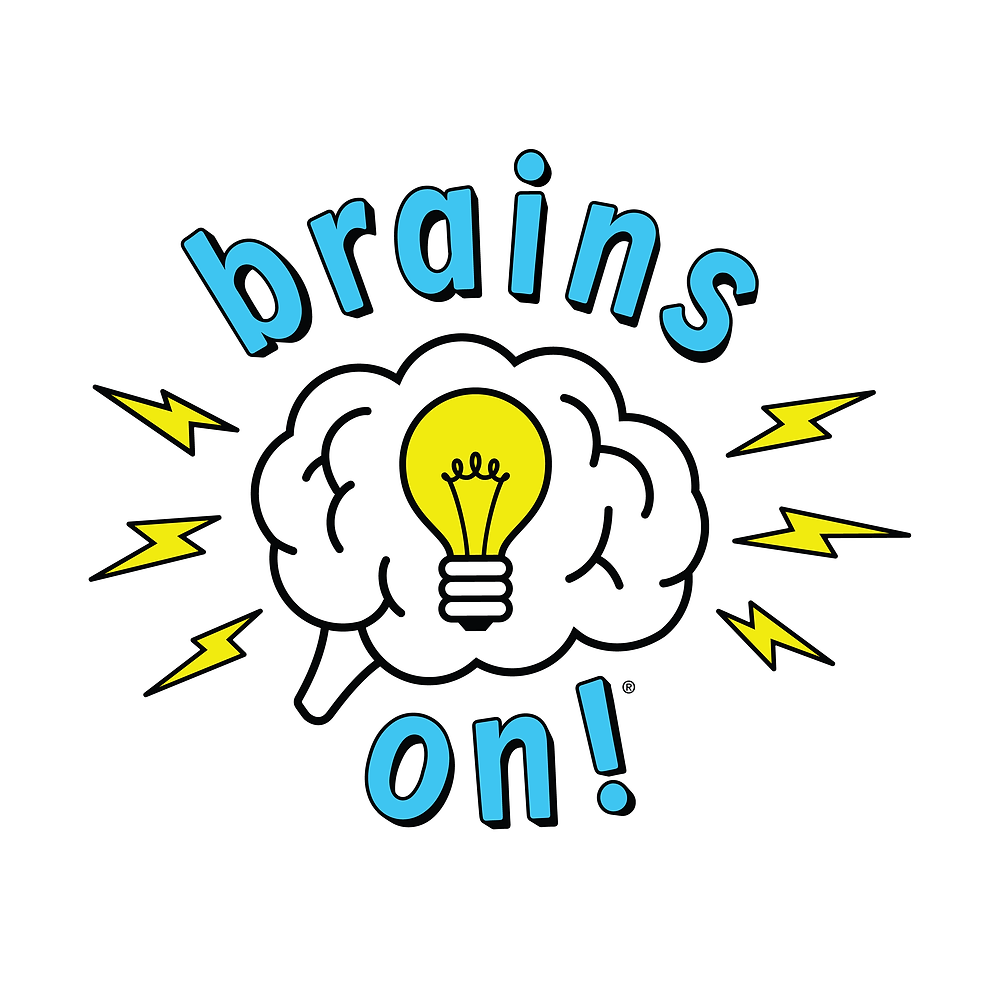 Brains On! logo - a white cloud with a light bulb in the middle - lightning coming out of the sides - top of cloud says brains, bottom of cloud says on!