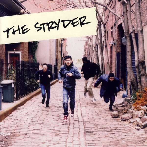 Album cover for The Stryder-  front facing shot of band members running down an alley