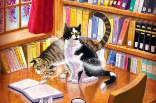 Drawing of two cats from the Magical Cats Mystery series