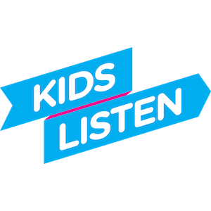Kids Listen logo - blue ribbon with white lettering over it.