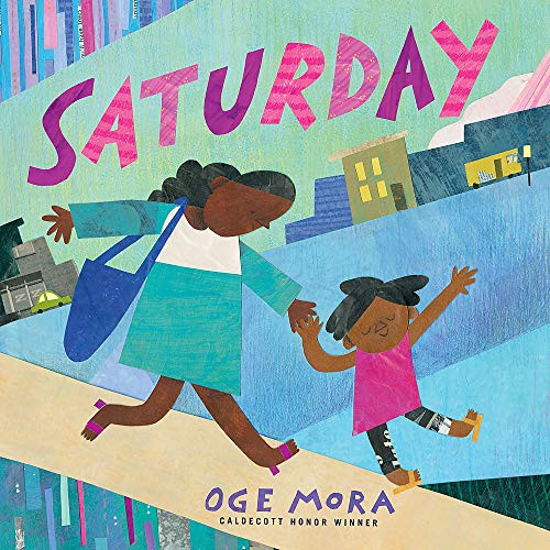 """Saturday"" book cover - An African-American mom and her child running down the sidewalk"